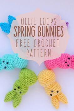 Ollie Loop's Spring Bunnies! Free Crochet Pattern Ollie Loop's Spring Bunnies! Holiday Crochet, Crochet Home, Crochet Crafts, Yarn Crafts, Easter Projects, Yarn Projects, Easter Crafts, Crochet Projects, Easter Bunny Crochet Pattern