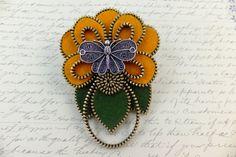 Flower with Butterfly Felt Zipper Brooch For ❤ by MsLolaCreates, $42.00