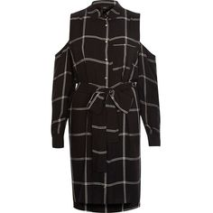 River Island Black check cold shoulder shirt dress ($92) ❤ liked on Polyvore featuring dresses, black, shirt dresses, women, tie waist shirt dress, shirt dress, longsleeve dress, cut-out shoulder dresses and checked shirt dress