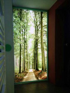 Grafické sklo deliaca stena