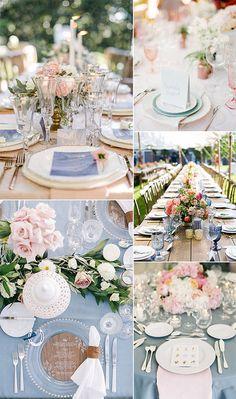 Decoração do casamento com as cores Pantone 2016: Azul Serenity e Rosa Quartz. São tons suaves e pasteis, perfeitos para um clima romântico e super acolhedor. Créditos: Elegant Wedding Invites.com