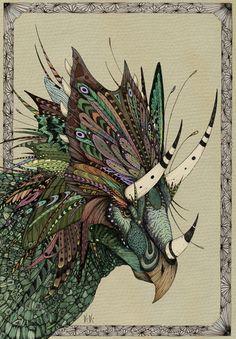 Decorated dinosaurs: Chasmosaurus Art Print by Kianna Kilgren | Society6