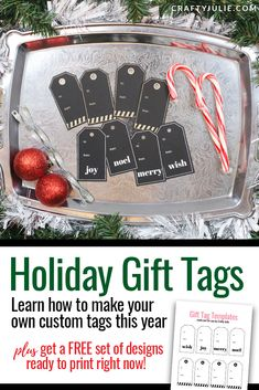 Learn how to make your own custom holiday gift tags. A quick tutorial to make them in Canva, then how to print and add foil for a festive look! Christmas Craft Projects, Christmas Decor, Diy Projects, Christmas Scrapbook Pages, Rose Gold Paper, Holiday Gift Tags, Custom Tags, Craft Tutorials, Festive