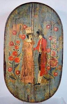 Antique Pine Hand Painted Bride Box c.1850