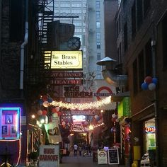 Printers Alley downtown Nashville Tennessee. I always get excited every time we drive by this alley.