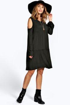 Ria Cold Shoulder Tiered Smock Dress at boohoo.com