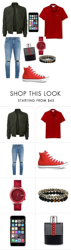 """""""Untitled #80"""" by lynabeauty ❤ liked on Polyvore featuring LE3NO, Lacoste, Neuw denim, Converse, Dee Berkley, Dolce&Gabbana, Prada, men's fashion and menswear"""