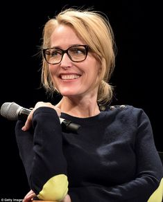 Gillian Anderson looks youthful in all-black ensemble for Tribeca Talk Gillian Anderson, Celebs, Celebrities, My Hair, Blonde Hair, Hair Beauty, Beautiful Women, Actresses, Female