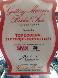 Dangwaflorist still no.1 florist and events stylist in 2 recent Wedding Fairs in Metro Manila,the Getting Married Bridal Fair ,Jan.14 & 15,2017,SMX Mall Asia,Pasay City (Top Booker & No.1 F…