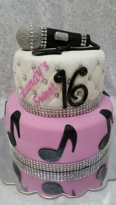 Sweet sixteen cake with bling and microphone
