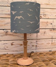 Handmade Seagulls Lampshade, Peony and Sage Linen, Stone Blue, 20cm Drum Shade, Coastal, Country Style, Seaside, Vintage Inspired