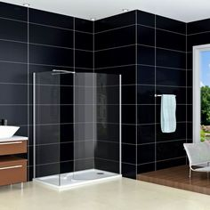 Walk In Shower Enclosure Cubicle Curved Glass Screen - Click Image to Close Shower Enclosure, Glass Shower, Shower Bath, Diy Projects Room, Shower Doors, Shower Screen, Curved Glass, Walk In Shower Enclosures, Wooden Screen