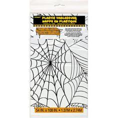 Halloween Spindelvæv Plastik Dug - Single. Skab en dårlig stemning med en dug fyldt med spindelvæv til Halloweenfesten eller andre fester hvor det skal være uhyggeligt! Find den hos MinTemaFest.dk