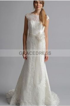 Buy A-line Sweep Brush Train Scoop Lace A line Wedding Dresses A0129 With Quality Guarantee, 7 Days Return Polciy And Free Shipping to UK.