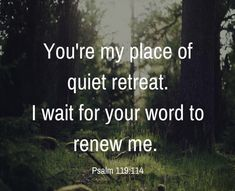 You're my place of quiet retreat. I wait for your word to renew me.