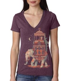 Womens Elephant Traveler T Shirt, India, Animal VNeck, Vintage, Purple, Available in S M L XL XXL on Etsy, $24.00