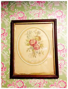 French, 18th century print against Pierre Deux wallpaper. Potting Room & roses.  Silvina Leone Design @ 2013