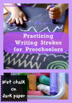 Practicing Writing Strokes for Preschoolers with wet chalk and black paper.