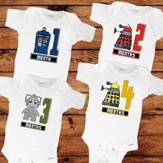 These 12 unique onesies are the perfect baby shower gift for any lucky mother-to-be! Each onesie has a fun Doctor Who inspired design that will