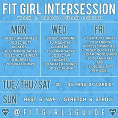 "4,692 Likes, 92 Comments - Fit Girls Guide (@fitgirlsguide) on Instagram: ""Week 1 of #FitGirlIntersession, Cardio Queen Edition, starts TOMORROW! Fit Girl Intersession is…"""