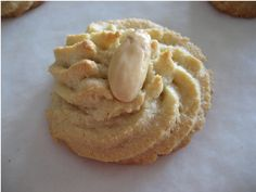 Amygdalota - Greek Almond Cookies Georgalis-Hertzberg is this the cookie from your shower? My mouth is salivating just looking at it lol Greek Sweets, Greek Desserts, Just Desserts, Pastry Recipes, Baking Recipes, Cookie Recipes, Dessert Recipes, Greek Cake, Eat Greek
