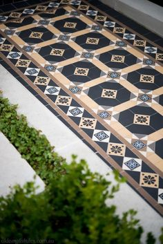 Olde English Tiles' gorgeous tessellated tiled floors can revitalise and transform a tired verandah into a spectacular, welcoming entrance to your home. Porch Tile, Patio Tiles, Outdoor Flooring, Cement Tiles, Outside Tiles, Outside Patio, Terrace House Exterior, House Exteriors, Victorian Mosaic Tile