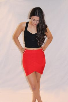 MIDNIGHT MISSION BLACK CROP TOP & MIDNIGHT MISSION SKIRT RED Available at www.emilylaine.com.au