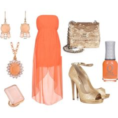 Summer Rose/Peach and Gold by jessicawhite on Polyvore