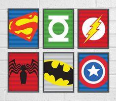 Set of 6 Superheroes Wall Art, Superhero Art Print, Kids Wall Art. Captain America, Super Man, Batman, Spider man...