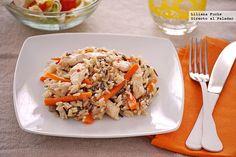 Salteado de pollo con zanahoria y mezcla de arroz salvaje. Receta
