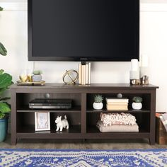 Walker Edison 58 inch TV Stand Console With Mount - Espresso for sale online Living Room Tv, Living Room Modern, Tv Stand Ideas For Living Room, Apartment Living, Apartment Ideas, Living Spaces, Tv Stands, Espresso Tv Stand, Tv Stand With Mount