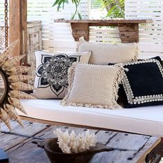"""""""Our mandala and cowrie shell cushions were so popular they've sold out until we restock in March. BUT you can still get your hands on our large Boho…"""""""