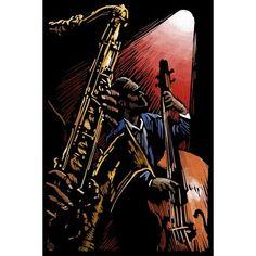 Jazz Band - Scratchboard - LP Artwork (Light Switchplate Cover)