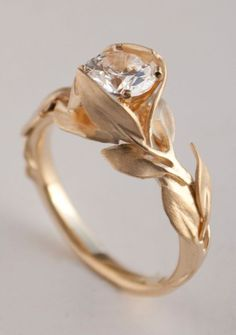 Leaves Engagement Ring No. 7 – 14K Gold and Diamond engagement ring, engagement ring, leaf ring, 1ct diamond, antique, art nouveau, vintage, jewellery