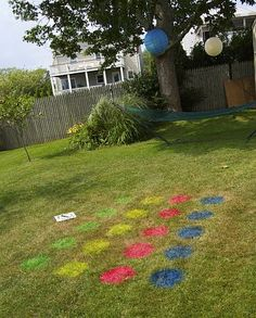 outdoor twister game - Some fluorescent spray paint and you're in business! This lasts until the grass is cut!