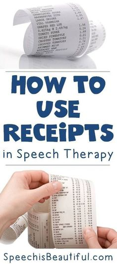How to Use Receipts in Speech Therapy – Receipts are a great tool that help people use functional language skills.Theyre perfect for speech therapy with older students. Heres how you can use receipts in speech therapy. - Speech is Beautiful Cognitive Activities, Speech Therapy Activities, Articulation Activities, Language Activities, Therapy Games, Dementia Activities, Phonics, Aphasia Therapy, Cognitive Therapy