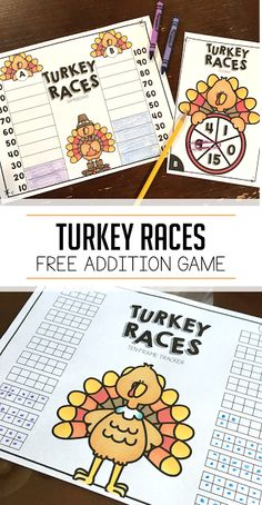 This is a fun, free addition game for first grade and kindergarten! Students can play turkey races during Thanksgiving to practice adding on until 100! Click on over for the download.