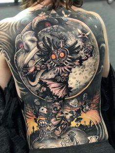 Daniel Ixi > The Legend of Zelda: Majora's Mask Discover arcade classics to today' Gamer Tattoos, Anime Tattoos, Top Tattoos, Badass Tattoos, Body Art Tattoos, Tattoos For Guys, Epic Tattoo, Tatoos, Kingdom Hearts Tattoo
