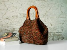 Knitting Tote, women fashion Fall tones, Knit tote, purse, Brown shades - gifts idea autumn Bag on Etsy, $115.00