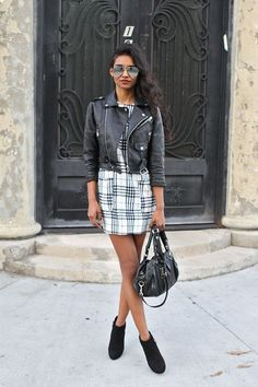 Black leather jacket, patternerd dress, aviator sunnies//