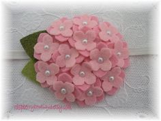 Baby headbands Felt Flower Headband Small Wool Felt Hydrangea Ellie-Cotton Candy Pink, Soft Pink-U PICK Headband, or Hair Clip, or Bro