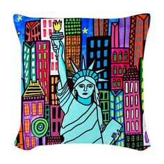 Statue of Liberty Pillow  Woven Throw Pillow by HeatherGallerArt, $60.00