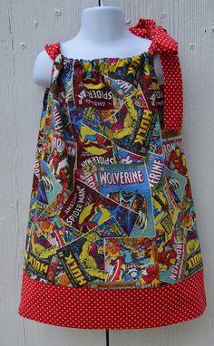 Marvel Comic Dress Superhero Dress Pillowcase Dress Tie