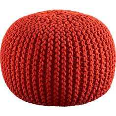 Knitted Pouf - Accent round layers on sweater in chunky hand-knit blood orange.  I need a pouf in my living room's life. $90