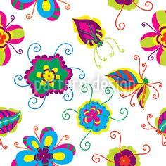 Abstract Flower - Fiction flowers in different colors on white background. Abstract Flowers, Vector Pattern, Surface Design, Flower Designs, Different Colors, Fiction, Fantasy, Patterns, Block Prints