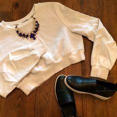 Six Crisp Days cropped sweatshirt leather sleeves white cropped sweatshirt with faux leather sleeves by Six-Crisp-Days Nasty Gal Tops Sweatshirts & Hoodies