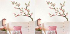 FA US New Bedroom Kitchen Cherry Blossoms Tree Mural Art Wall Sticker Decal Deco | eBay