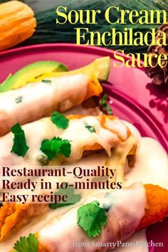Restaurant-quality Sour Cream Enchilada Sauce in your own kitchen! Easy recipe and ready in 10-minutes! Sour Cream Enchilada Sauce, Sour Cream Enchiladas, Sour Cream Sauce, Easy Recipes For Beginners, Cooking For Beginners, Thanksgiving Recipes, Holiday Recipes, Sauce Restaurant, Tex Mex