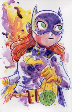 Batgirl watercolor by the uber-talented Mike Maihack Batman Comic Art, I Am Batman, Gotham Batman, Batman Robin, Dc Batgirl, Batwoman, Nightwing, Dc Comics, Batman Comics
