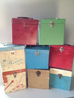 45 record boxes, I had the blue one and ended up keeping my crayons in it : ) Cause I  had way too many 45's